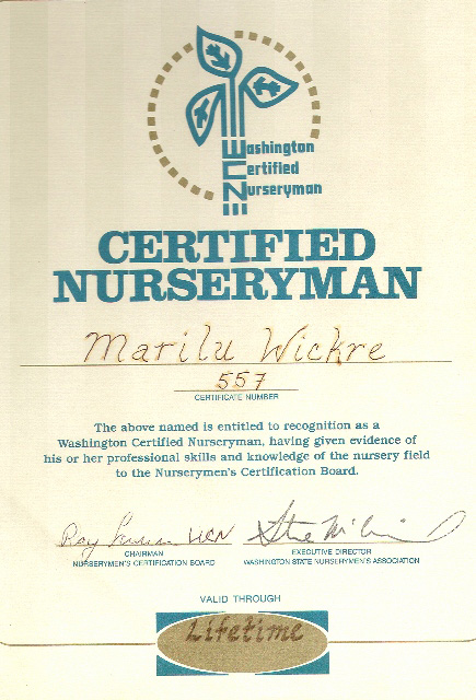 Marilu Wickre's Nurseryman Certification